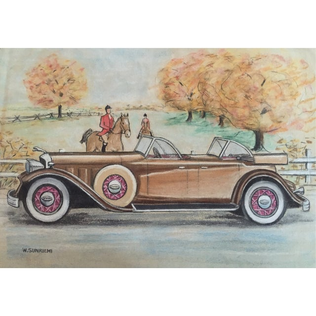 Original Vintage 1950's Pastel Lincoln Car Drawing - Image 2 of 6