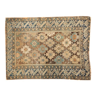 "Antique Caucasian Square Rug 3'9"" X 4'11"""