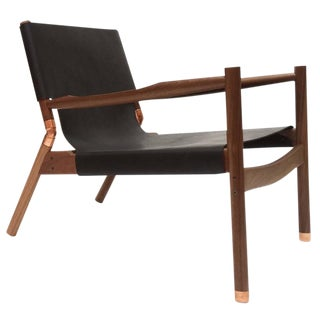 Erickson Aesthetics Slung Black Calf Leather Walnut Lounge Chair