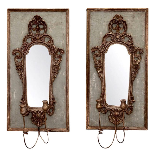 Pair 19th Century Italian Sconces With Carved Mirror and Gesso Frames - Image 1 of 10