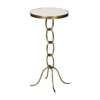 Gilded Iron Cigar Table With White Marble Top