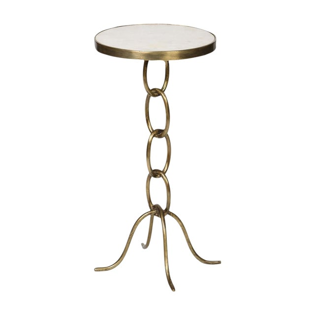 Gilded Iron Cigar Table With White Marble Top - Image 1 of 3
