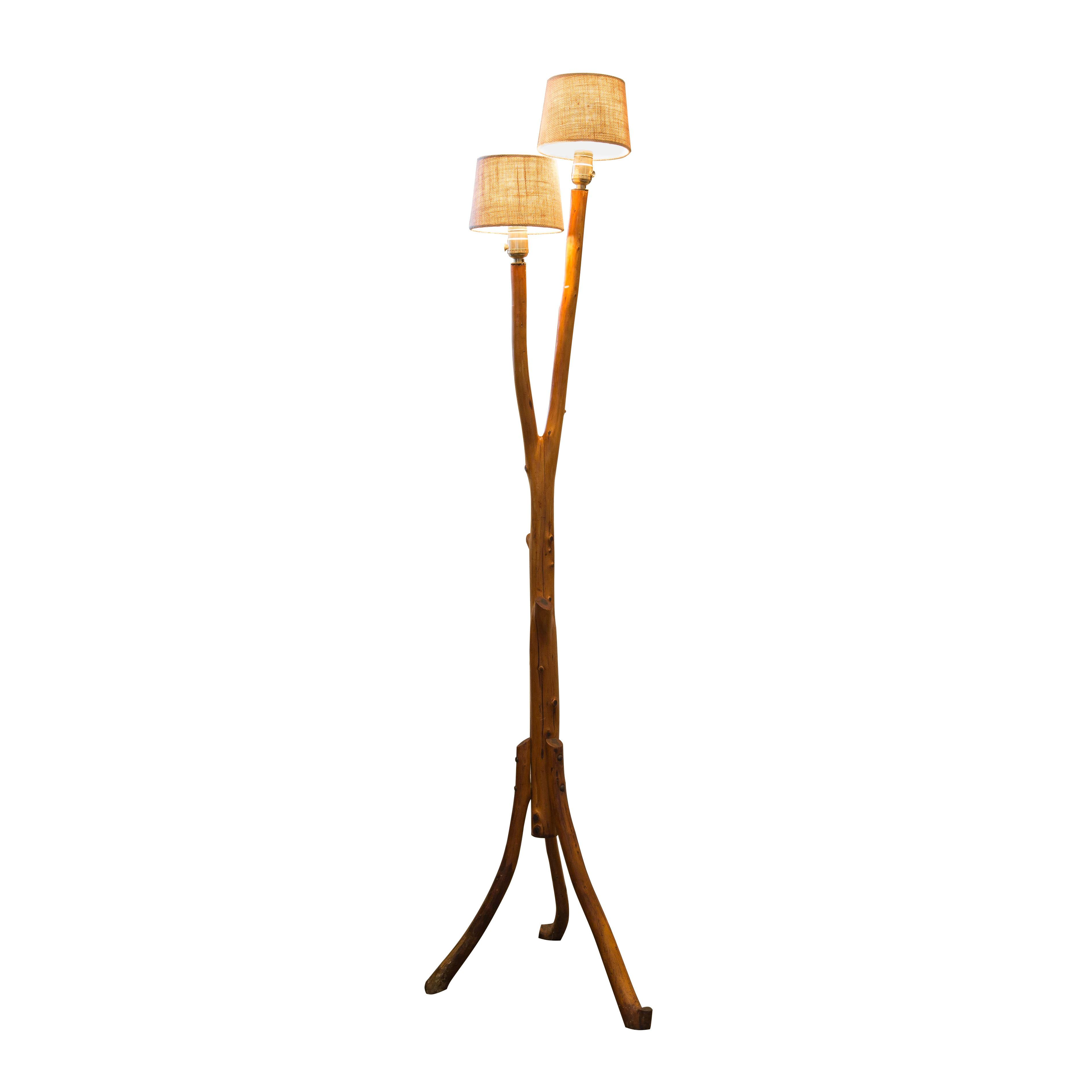 Vintage Folk Art Tree Branch Floor Lamp   Image 1 Of 5