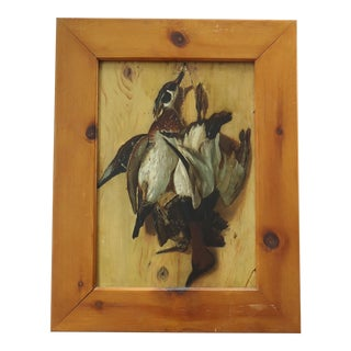 Antique Trompe l'Oeil Painting of Game Birds on Wood