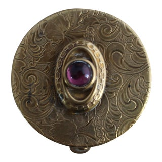 Vintage Brass Repousse Powder Box With Amethyst Stone