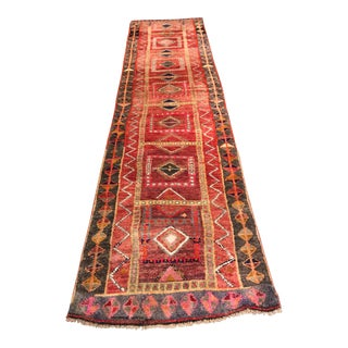 Rainbow-Color Turkish Oushak Runner - 3′ × 12′9″