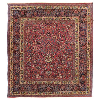 RugsinDallas Square Hand Knotted Antique Persian Mashad Rug - 6′8″ × 7′5″
