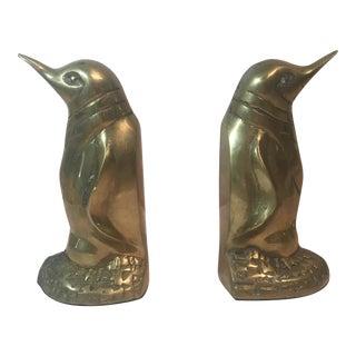 Brass Penguin Bookends - A Pair