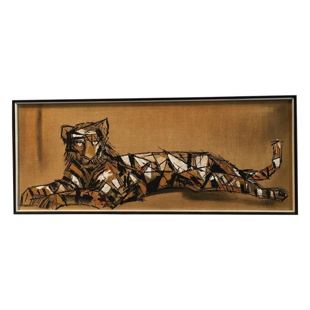 """Tiger Painting on Burlap by """"Carlos"""" - Image 1 of 4"""