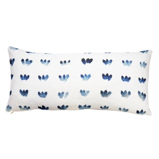 "Indigo Petal Rows Linen Pillow - 10"" X 22"""