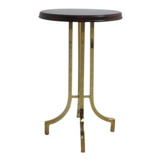 Vintage Lane Furniture Brass and Burl Wood Lamp End Table