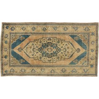 "Vintage Turkish Oushak Rug with Modern Design & Cerulean Blue Field - 5'3"" x 9'5"""