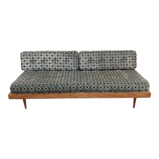 Vintage Blue & Brown Retro Sofa