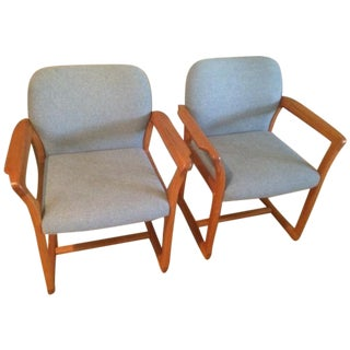 Danish Modern Teak & Tweed Chairs- A Pair