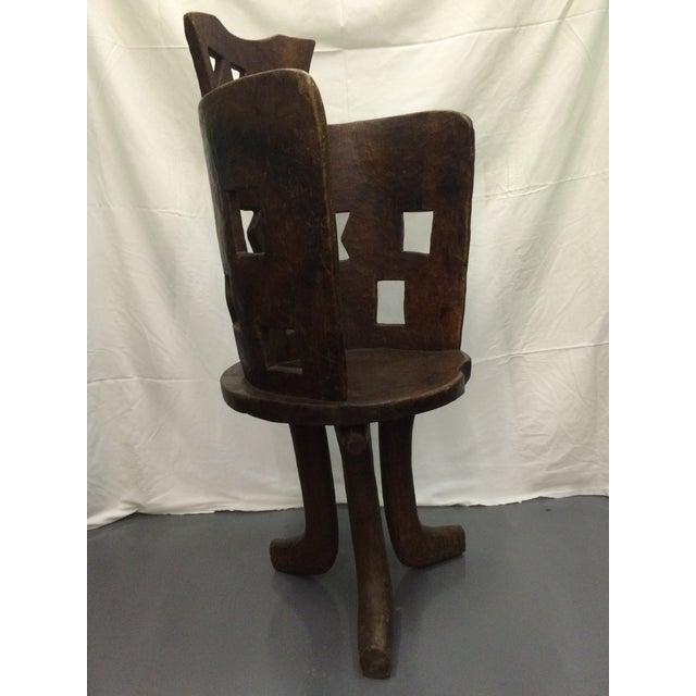 Antique Ethiopian Hand Carved Wooden Chair - Image 3 of 6