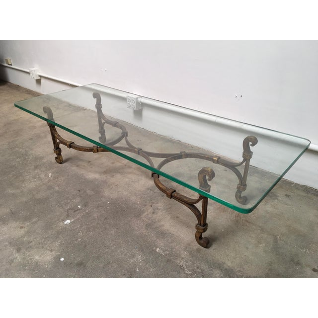 Gilded Iron & Glass Coffee Table Attributed to Arturo Pani - Image 11 of 11