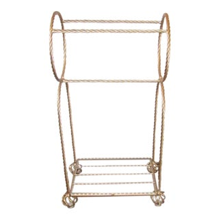 Hollywood Regency Brass Rope Towel Stand