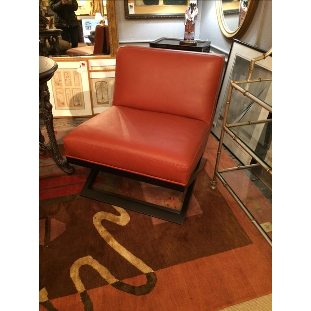 Leather & Ebonized Wood Club Chairs - A Pair - Image 3 of 5
