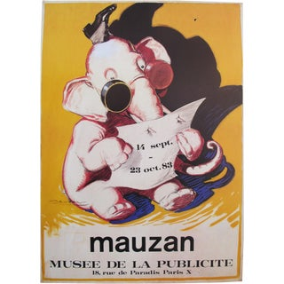 1983 French Exhibition Poster, Elephant by Achille Mauzan