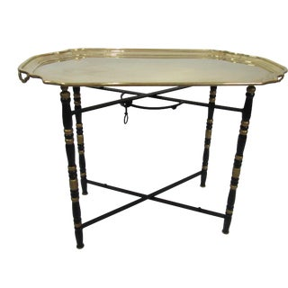 Hollywood Regency Solid Brass Tray Table