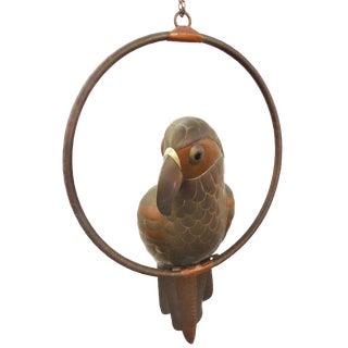 Sergio Bustamante Hanging Parrot & Perch Sculpture