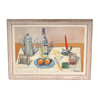 Maurice Salzani Still Life With Cinzano Painting