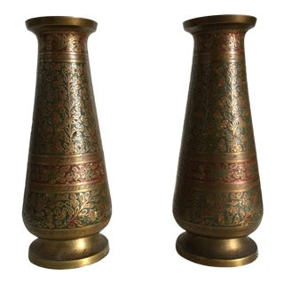 Vintage Enameled Indian Brass Vases - A Pair