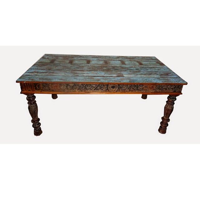 indian reclaimed carved wood dining table chairish. Black Bedroom Furniture Sets. Home Design Ideas