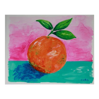 Orange Abstract Still Life Painting by Cleo