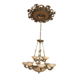 Alabaster & Brass Chandelier