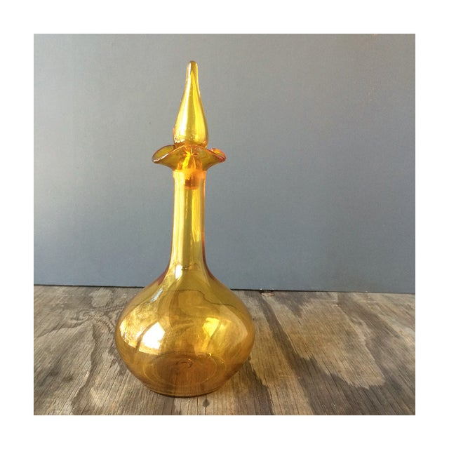 Vintage Glass Golden Decanter - Image 2 of 5