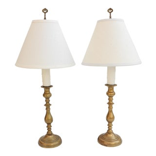 Antique Brass Candlestick Lamps - A Pair