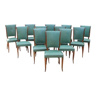 Stunning Set of Twelve French Art Deco Dining Chairs Attributed to Jules Leleu Circa 1940s.