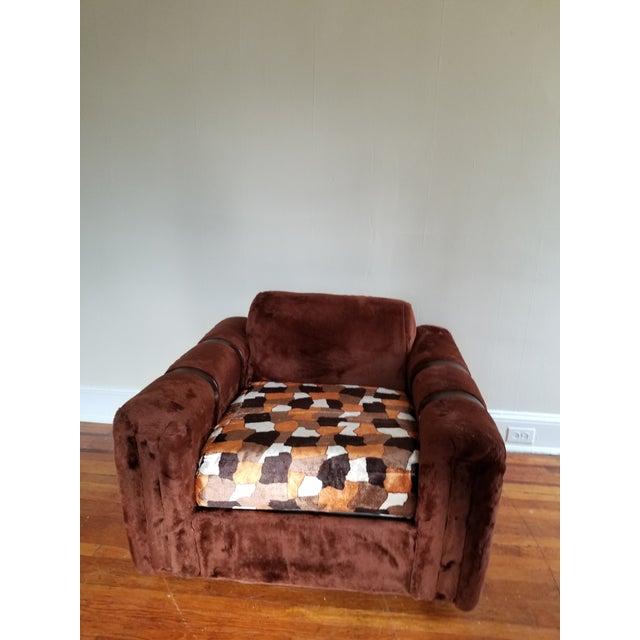 1970s Vintage Brown Fur/Orange Patchwork Pattern Loveseat - Image 4 of 6