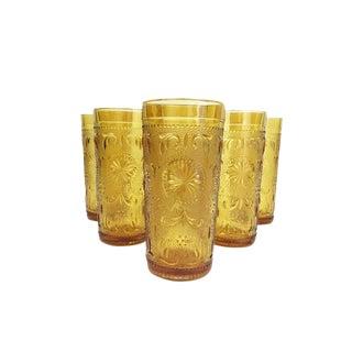 Vintage Yellow High Ball Glasses - Set of 6