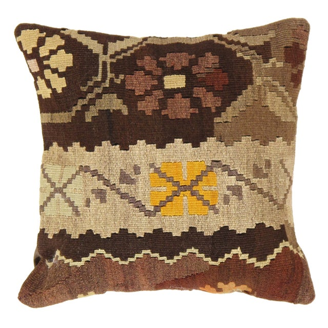 Brown Pasargad Decorative Vintage Kilim Pillow - Image 1 of 2