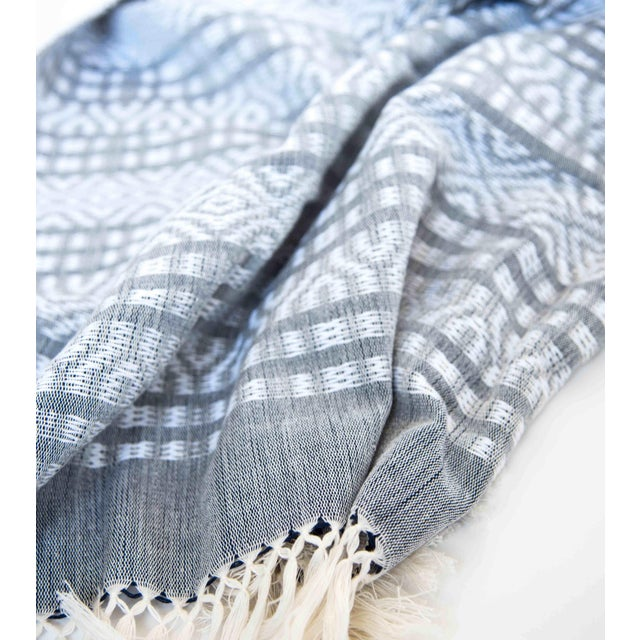 Blue-Gray & White Handwoven Mexican Throw - Image 4 of 4