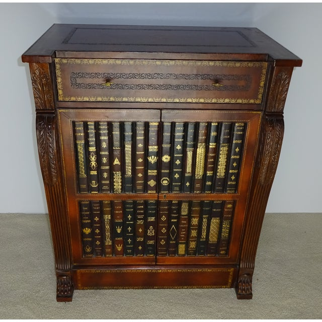 Maitland Smith Leather Faux Book Cabinet - Image 3 of 11