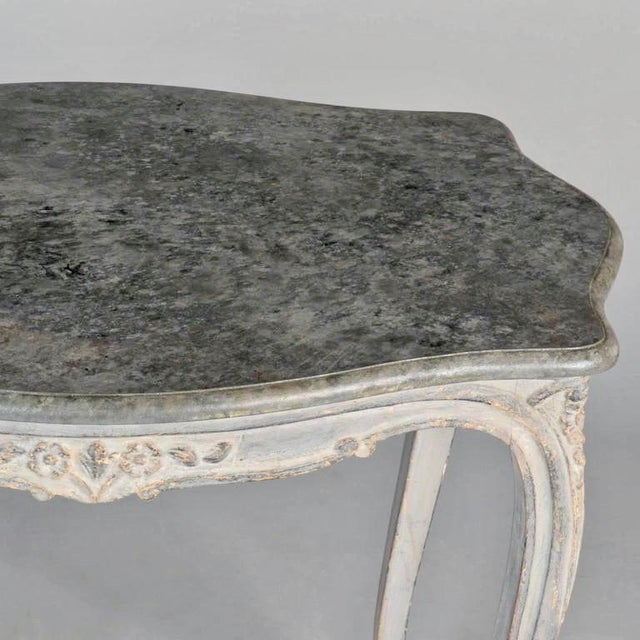 Antique French Painted and Carved Blue Side Table c.1920 - Image 8 of 10