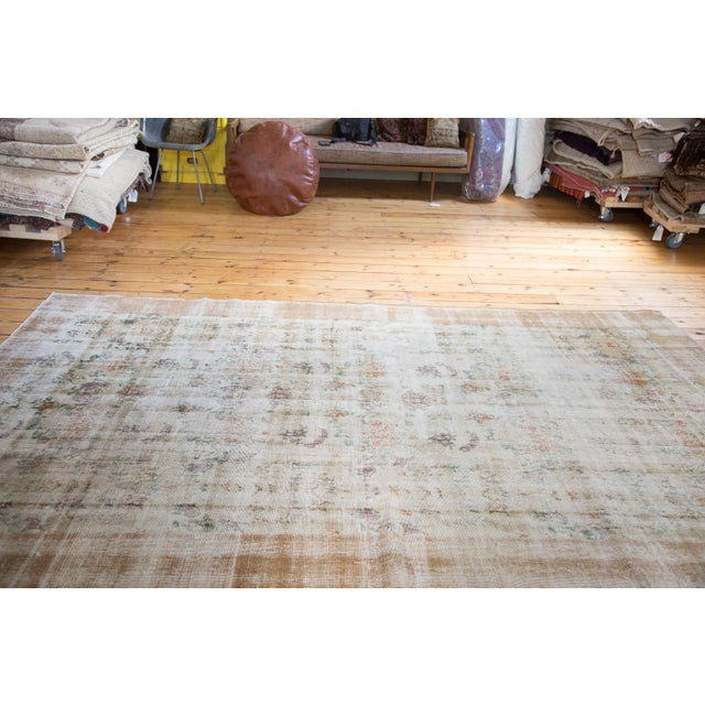"""60s Distressed Floral Oushak Rug - 6'3"""" x 10'2"""" - Image 4 of 7"""