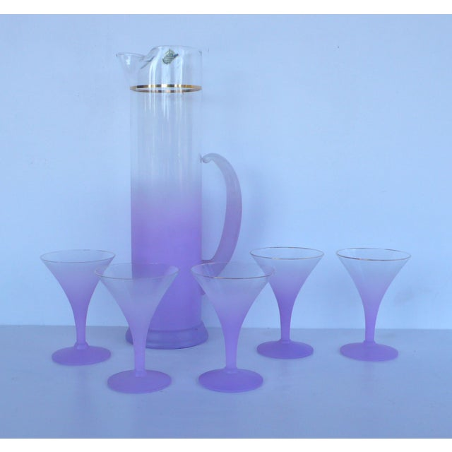 West Virginia Glass Frosted Cocktail Set - Image 4 of 8