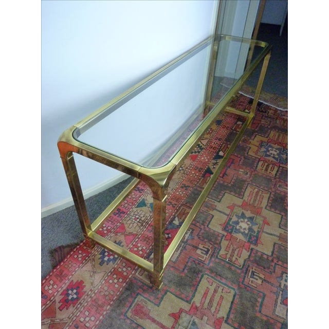 Mastercraft Vintage Brass & Glass Console Table - Image 6 of 11