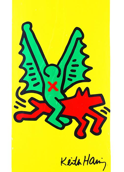 Rare Keith Haring Yellow Skate Deck Chairish