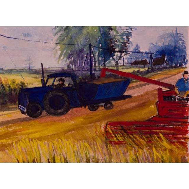 Vintage WPA-Style Farm and Tractor Oil Painting - Image 3 of 3