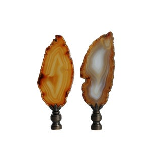 Agate Slice Lamp Finial - A Pair