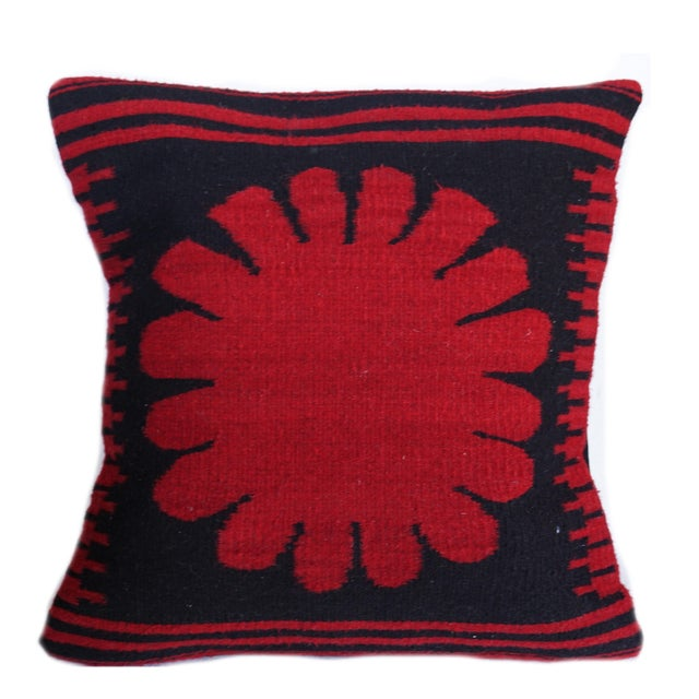 Image of Red Poppy Wool Pillow