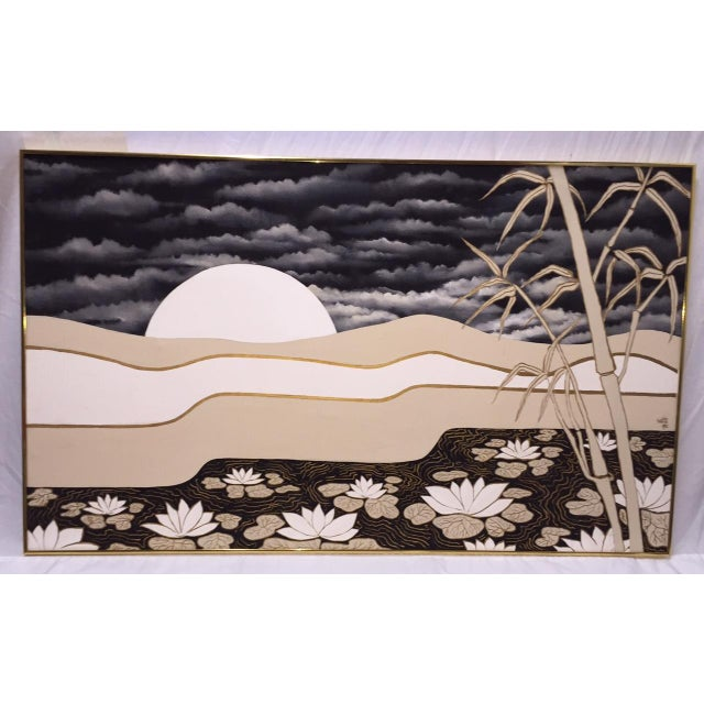 Vintage Abstract Lotus Canvas Art Work - Image 2 of 7