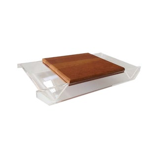 Vintage Lucite & Wood Cheese Board Server Tray