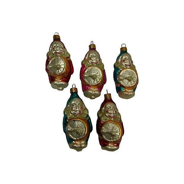 Image of German Clown Christmas Ornaments - Set of 5