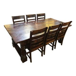 Rustic Espresso Reclaimed Wood Dining Set